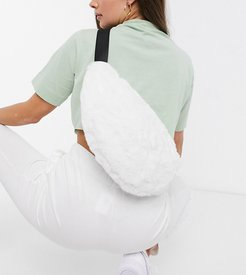 London Exclusive oversized fanny pack with muffy in white faux fur