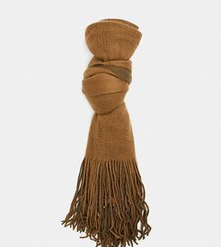 London Exclusive reversible scarf in camel and chocolate-Multi