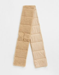 London padded volume scarf in nylon and teddy mix in camel-Beige