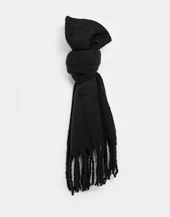 London super soft scarf with tassels in black