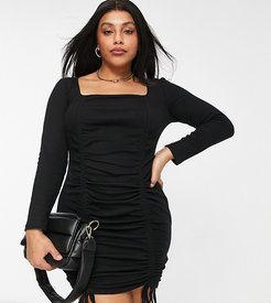 ruched body-conscious dress in black