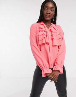 ruffle front blouse in pink
