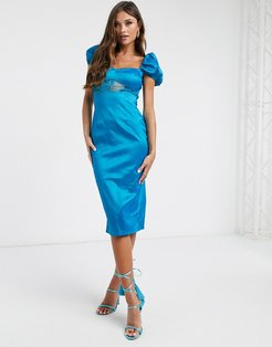 satin midi dress with lace detail in teal-Blues