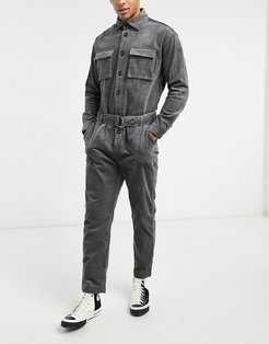 cord coveralls in black