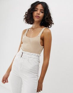 knitted cami top in rib-Cream
