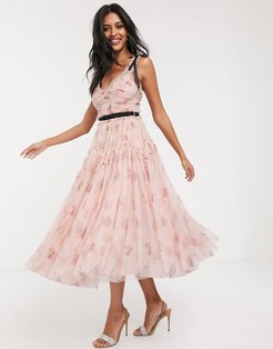 bow detail midi dress with contrast waistband in pink floral