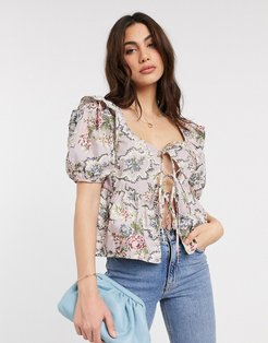 milkmaid top with puff sleeves and tie front in vintage floral print-Purple