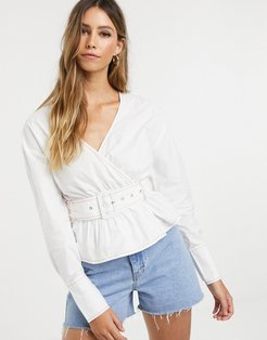 wrap blouse with belted waist-White
