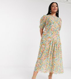 puff sleeve sheer tiered trapeze maxi dress in yellow floral print-Multi