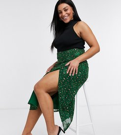 wrap midi skirt set in green leopard print