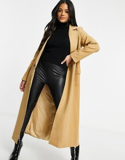tailored maxi jacket in camel-Beige