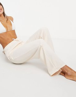 casual drawstring beach pants in stone-White