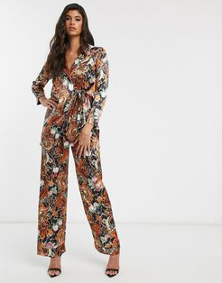 relaxed pants in dragon floral satin two-piece-Multi