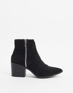 block heeled western boot in black