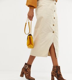 buckle detail heeled boot in leopard-Stone