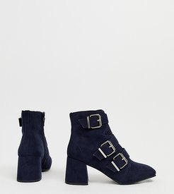 buckle heeled boot in navy