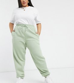 New Look Curve cuffed sweatpants in light green