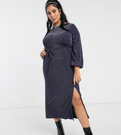 New Look Curve long sleeve tie front midi dress in navy