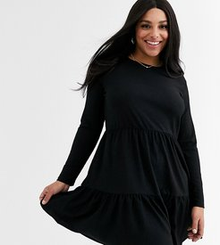 New Look Curve long sleeve tiered smock dress in black