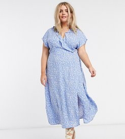 New Look Curve midi wrap dress in blue ditsy floral