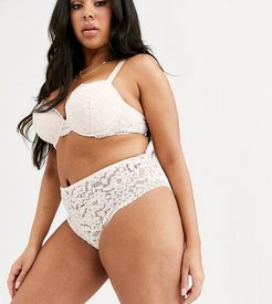 New Look Curve pansy lace natural plunge bra in ivory-White