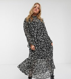 New Look Curve ruffle neck midi dress in black floral