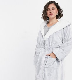New Look Curve soft hooded robe in light gray-Grey