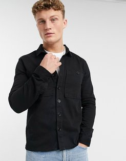 double pocket twill overshirt in black