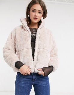 faux fur stand neck jacket in pale pink