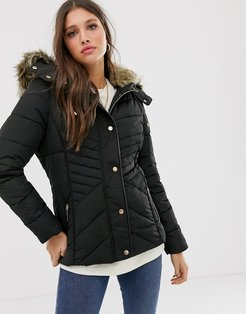 fitted puffer jacket in black