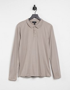 long sleeve muscle fit polo in mink-Pink