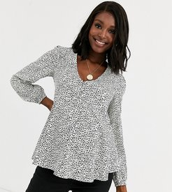 puff sleeve button down top in black floral-Multi