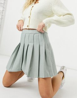 mini pleated tennis skirt in pastel green check
