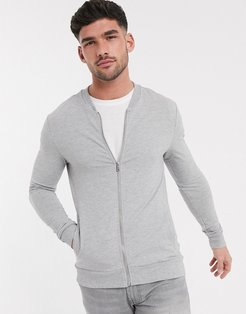 muscle fit jersey bomber in gray