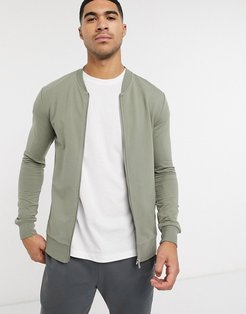 muscle fit jersey bomber in khaki-Green