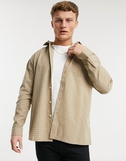 oversized check shirt in stone