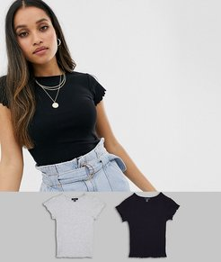 2 pack frill edge crop t-shirts in black and gray