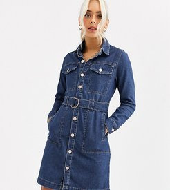 belted denim shirt dress in blue