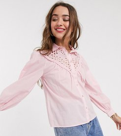 embroidered shirt in pale pink
