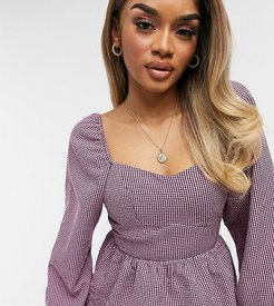gingham square neck blouse in pink