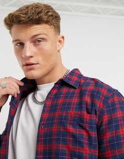 plaid shirt in red and navy