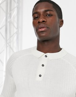 ribbed muscle fit long sleeve polo in white