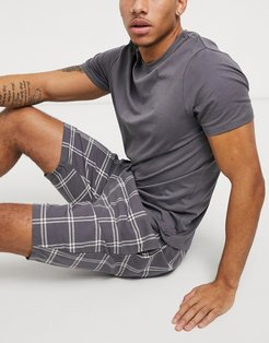 short checked lounge set in gray grid-Grey