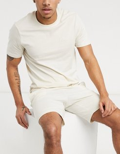 short lounge set with NLM embroidery in off white-Cream