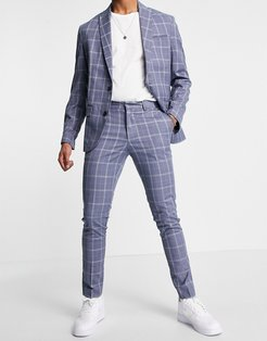 skinny plaid suit pant in blue-Blues