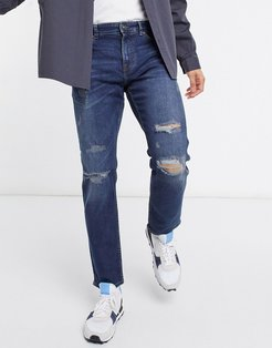 slim jeans with rips in mid blue-Blues