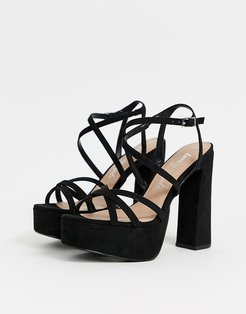 strap up platform high heel in black