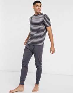 striped T-shirt and sweatpants lounge set in dark gray-Grey