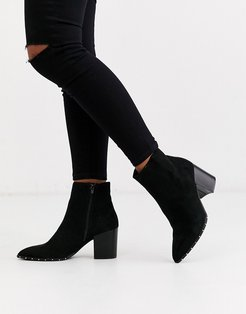studded rand heeled boot in black