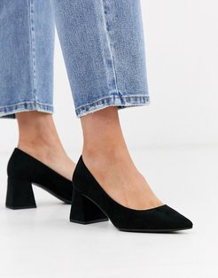 suedette low block heeled shoes in black